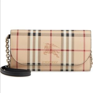 Burberry Haymarket wallet on chain/crossbody